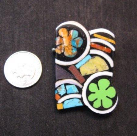 Image 1 of Abstract Mary Tafoya Santo Domingo Mosaic Flower Inlay Pin/Pendant