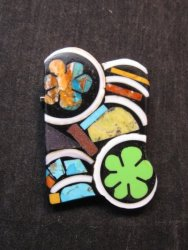 Abstract Mary Tafoya Santo Domingo Mosaic Flower Inlay Pin/Pendant