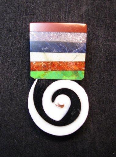 Image 0 of Mary Tafoya Santo Domingo Kewa Mosaic Inlay Pin/Pendant