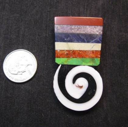 Image 1 of Mary Tafoya Santo Domingo Kewa Mosaic Inlay Pin/Pendant