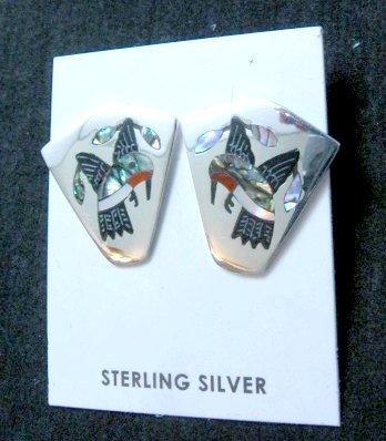 Image 0 of Sanford Edaakie, Zuni, Multigem Inlaid Hummingbird Post Earrings