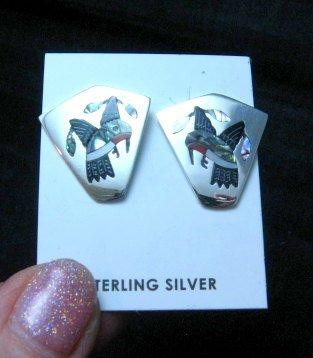 Image 1 of Sanford Edaakie, Zuni, Multigem Inlaid Hummingbird Post Earrings