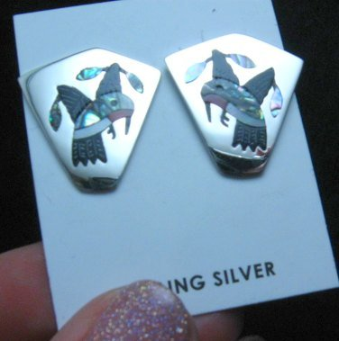 Image 2 of Sanford Edaakie, Zuni, Multigem Inlaid Hummingbird Post Earrings