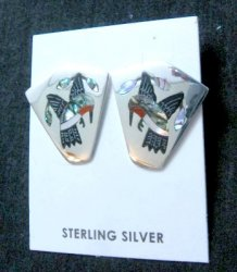 Sanford Edaakie, Zuni, Multigem Inlaid Hummingbird Post Earrings