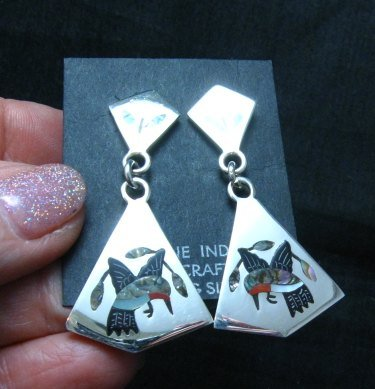 Image 0 of Sanford Edaakie, Zuni, Inlaid Hummingbird 2-Pc Earrings