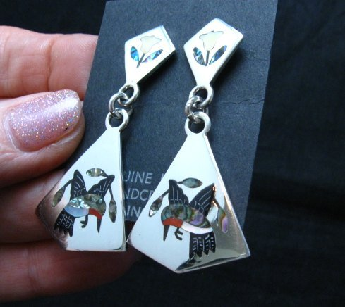 Image 1 of Sanford Edaakie, Zuni, Inlaid Hummingbird 2-Pc Earrings
