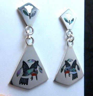 Image 0 of Sanford Edaakie Zuni Inlaid Hummingbird 2-Pc Earrings