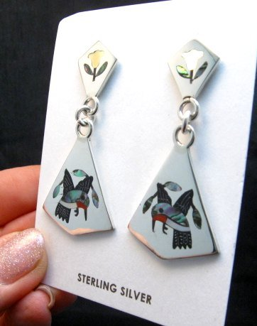 Image 1 of Sanford Edaakie Zuni Inlaid Hummingbird 2-Pc Earrings