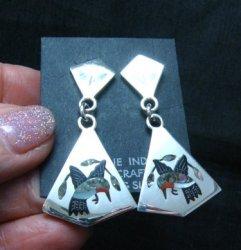 Sanford Edaakie, Zuni, Inlaid Hummingbird 2-Pc Earrings