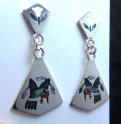 Sanford Edaakie Zuni Inlaid Hummingbird 2-Pc Earrings
