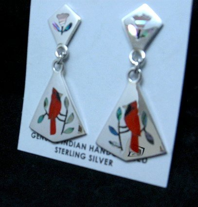 Image 0 of Cardinal 2-Pc Silver Dangle Earrings, Zuni, Sanford Edaakie