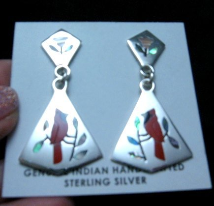 Image 2 of Cardinal 2-Pc Silver Dangle Earrings, Zuni, Sanford Edaakie