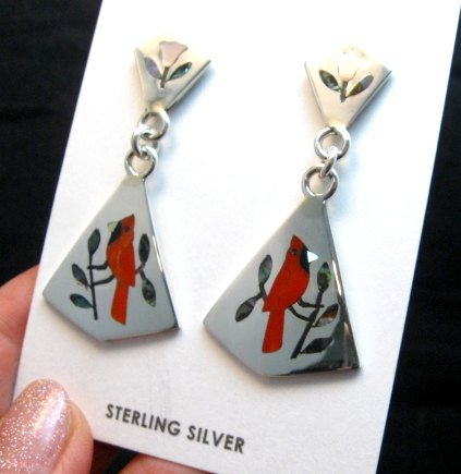 Image 1 of Cardinal 2-Pc Silver Dangle Earrings, Zuni, Sanford Edaakie