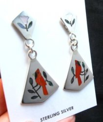 Cardinal 2-Pc Silver Dangle Earrings, Zuni, Sanford Edaakie