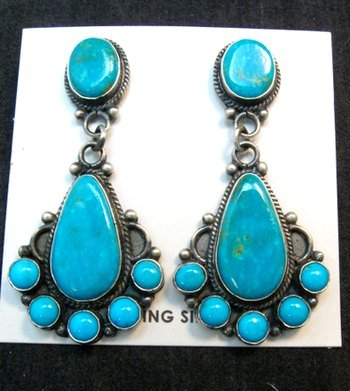 Image 0 of Tyler Brown Navajo Kingman Turquoise Cluster S/S Earrings