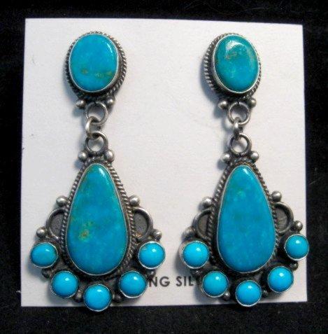 Image 1 of Tyler Brown Navajo Kingman Turquoise Cluster S/S Earrings