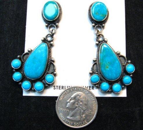 Image 2 of Tyler Brown Navajo Kingman Turquoise Cluster S/S Earrings