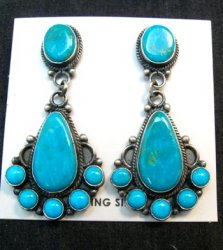 Tyler Brown Navajo Kingman Turquoise Cluster S/S Earrings