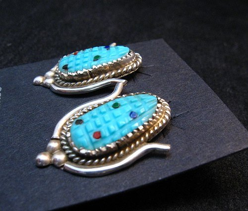 Image 1 of Turquoise Corn Post Earrings Tracey Bowekaty Zuni Artisan