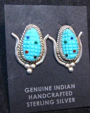 Image 0 of Turquoise Corn Post Earrings Tracey Bowekaty Zuni Artisan