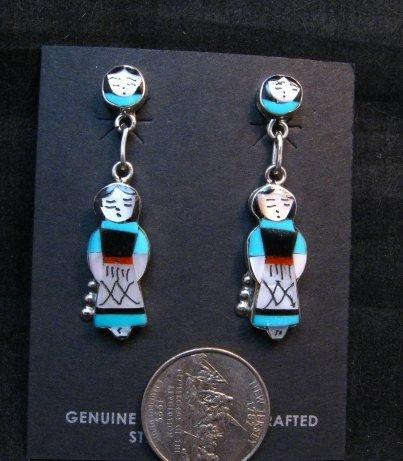 Image 1 of Zuni Native American Turquoise Indian Maiden Earrings, Joyce Waseta