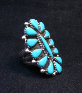 Image 1 of George Gasper Zuni Native American Turquoise Cluster Ring sz9-1/4