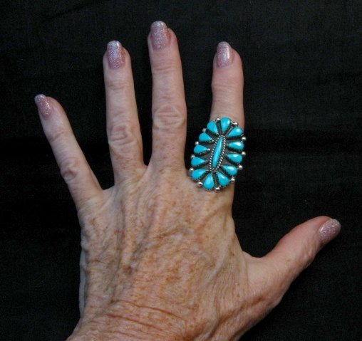Image 2 of George Gasper Zuni Native American Turquoise Cluster Ring sz9-1/4