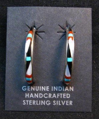 Image 1 of Narrow Native American Zuni Multi Gem Inlay Hoop Earrings