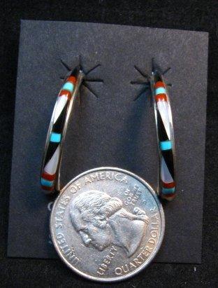 Image 2 of Narrow Native American Zuni Multi Gem Inlay Hoop Earrings