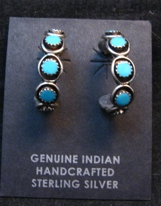 Image 0 of Zuni Sleeping Beauty Turquoise Sterling Silver Hoop Earrings