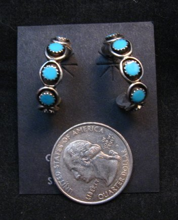 Image 2 of Zuni Sleeping Beauty Turquoise Sterling Silver Hoop Earrings