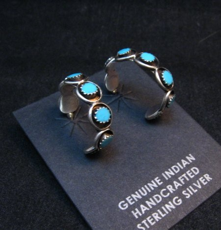 Image 3 of Zuni Sleeping Beauty Turquoise Sterling Silver Hoop Earrings