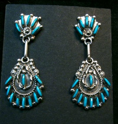 Image 0 of Zuni Native American Needlepoint Turquoise Silver Dangle Earrings