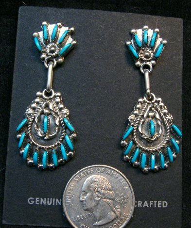 Image 1 of Zuni Native American Needlepoint Turquoise Silver Dangle Earrings