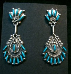 Zuni Native American Needlepoint Turquoise Silver Dangle Earrings