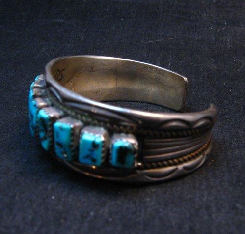 Image 1 of Vintage Dead Pawn Navajo Turquoise Silver Row Bracelet, Thomas Tso