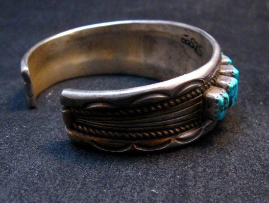 Image 2 of Vintage Dead Pawn Navajo Turquoise Silver Row Bracelet, Thomas Tso
