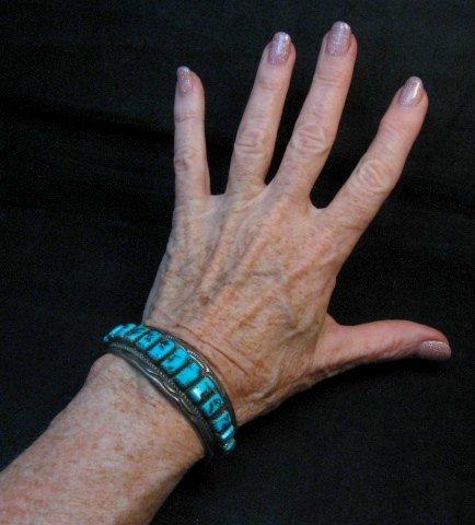 Image 3 of Vintage Dead Pawn Navajo Turquoise Silver Row Bracelet, Thomas Tso