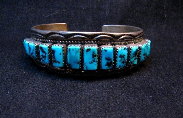 Image 4 of Vintage Dead Pawn Navajo Turquoise Silver Row Bracelet, Thomas Tso