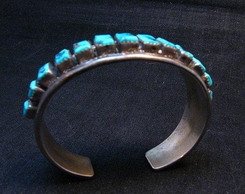 Image 5 of Vintage Dead Pawn Navajo Turquoise Silver Row Bracelet, Thomas Tso