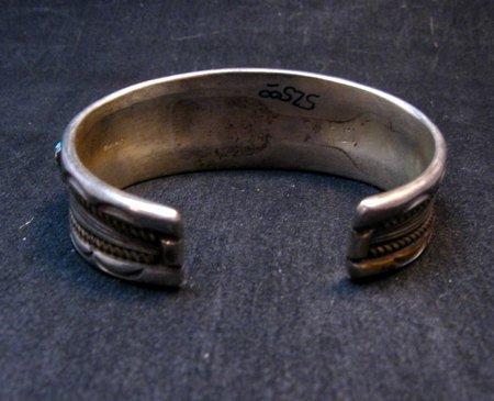 Image 6 of Vintage Dead Pawn Navajo Turquoise Silver Row Bracelet, Thomas Tso