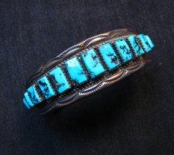 Vintage Dead Pawn Navajo Turquoise Silver Row Bracelet, Thomas Tso