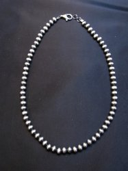 Native American 6mm Bead Navajo Pearls Sterling Silver Necklace 16-inch length