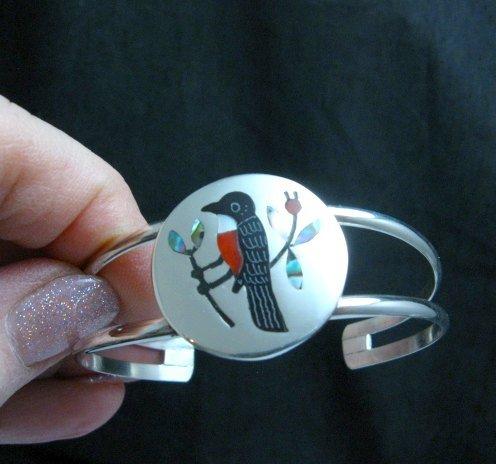 Image 0 of Sanford Edaakie, Zuni, Multigem Inlaid Robin / Thrush Bracelet