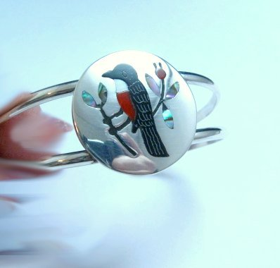 Image 1 of Sanford Edaakie, Zuni, Multigem Inlaid Robin / Thrush Bracelet
