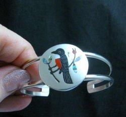 Sanford Edaakie, Zuni, Multigem Inlaid Robin / Thrush Bracelet