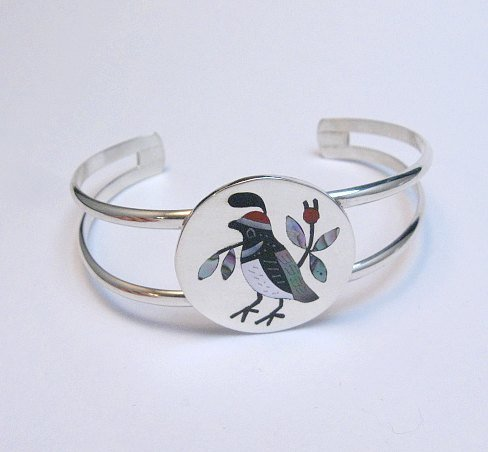 Image 0 of Native American Zuni Inlaid Quail Bird Bracelet Sanford Edaakie