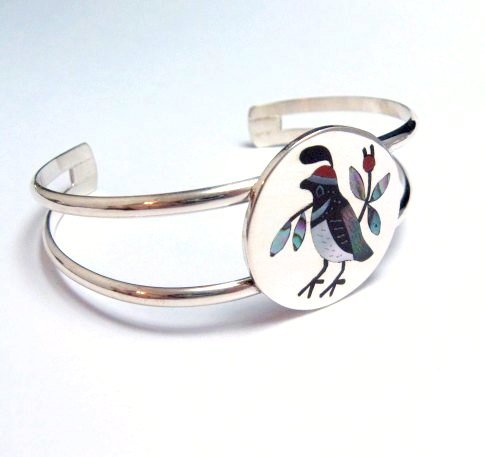 Image 1 of Native American Zuni Inlaid Quail Bird Bracelet Sanford Edaakie