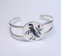 Native American Zuni Inlaid Quail Bird Bracelet Sanford Edaakie