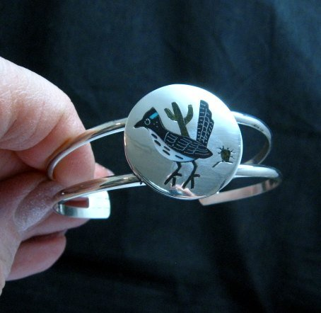 Image 0 of Native American Zuni Roadrunner Bird Bracelet Sanford Edaakie